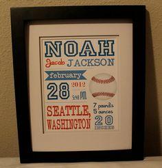 Baseball theme nursery print