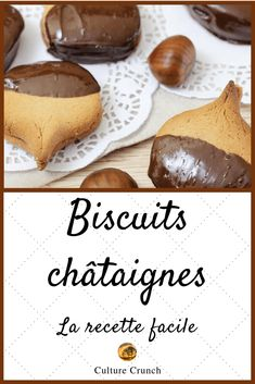 Biscuits châtaignes : la recette facile - a table! Easy Christmas Cookie Recipes, Christmas Cookies, Dessert Light, Desserts Français, Tasty, Yummy Food, Gluten Free Cookies, Healthy Cooking, Chocolate Chip Cookies
