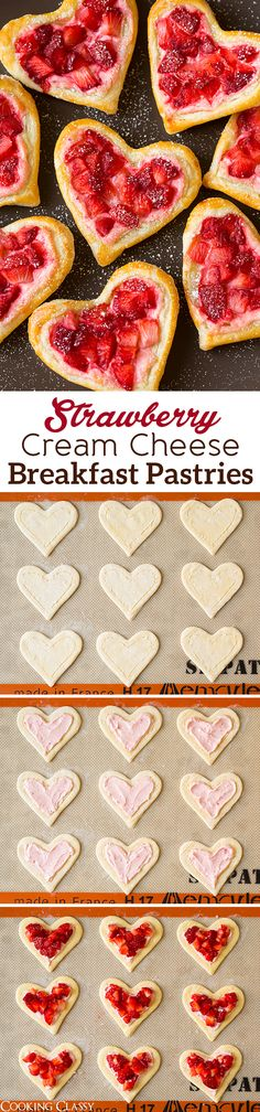 Heart-Shaped Strawberry Cream Cheese Breakfast Pastries - pretty and delicious!