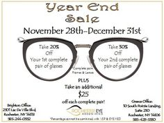 End of year is approaching and If you don't use your HSA/FSA money you lose it! Stop by our Optical Shops Monday 11/28- Saturday 12/31 for our Year End Sale! See picture for details!  #YearEnd #Sale #FlexSpending #UseItOrLoseIT #RochesterEyeWear #RochesterEyeAssociates