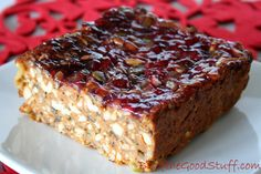 Red Lentil and Cashew Nut Loaf with Cranberry Glaze