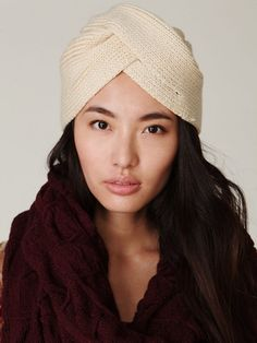 Free People Beige Knitted Turban Beanie