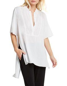 Bcbgeneration Slit-Back Popover Top Women's White Large