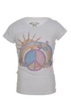Signorelli Girls Embellished TShirt M Short Sleeve Crew Neck Beaded Peace NEW #Signorelli #DressyEverydayHoliday