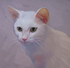 Eli, painting of a white cat, painting by artist Diane Hoeptner