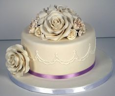 delicate piped rose wedding cake toronto by www.fortheloveofcake.ca, via Flickr