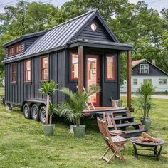 TINY HOUSE TOWN: The Riverside by New Frontier Tiny Homes-The Riverside by New Frontier Tiny Homes of Nashville, Tennessee. A stunning turnkey tiny house measuring 246 sq ft. Tiny House Trailer, Tiny House Cabin, Tiny House Plans, Tiny House Design, Small Houses On Wheels, Tiny Houses For Sale, Little Houses, Tiny House Exterior Wheels, Tiny Living