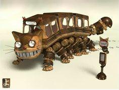 "Steampunk catbus :) Miyazaki's ""my neighbour Totoro"" Steampunk Animals, Steampunk Robots, Steampunk Gears, Steampunk Design, Steampunk Fashion, Steampunk Machines, Steampunk Artwork, Steampunk Gadgets, Cats Bus"