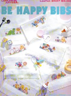 Be Happy Bibs of Adorable Counted Cross Stitch Designs by Leisure Arts 1993 by XtraThings on Etsy