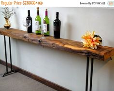 """Save10onfours Narrow Console Table, sofa table, display table, hall table, Hand-hewn beam reclaimed wood, 6"""" to 10"""" wide, now up to 90"""" long by SpokenWoodDesign on Etsy"""