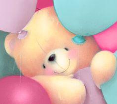 Forever Friends kaart - beer-met-ballonnen