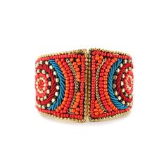 Shyanne Coral Jewelry Collection Wide Beaded Cuff Orange Red Turquoise Gold