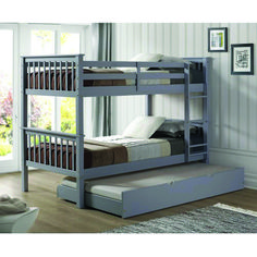 Solid Wood Twin Bunk Bed with Trundle Bed - Gray - Saracina Home : Target Trundle Bed With Storage, Bunk Bed With Trundle, Bunk Beds With Stairs, Twin Bunk Beds, Kids Bunk Beds, Loft Beds, Ikea Bunk Bed, Triple Bunk Beds, Storage Beds
