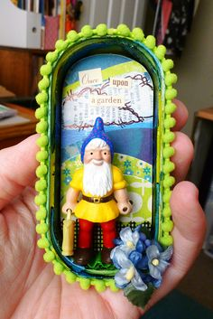 Mr. Gnome…upcycled sardines tin magnet. It came out a lot cuter than I was even hoping for. DetailsThe outside edges and back were pr...