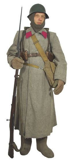 Soviet infantryman Finland 1938-39 in a light beige Shinel greatcoat with…
