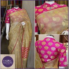 A simple and elegant tissue kota saree can be brightened by teaming it with beautifully weaved khatan silk fabric with zari roses. Please visit the store to chose a different and exclusive blouse fabric for any of your kanchi, kota, banaras, chiffon, georgette sarees. Please visit the store to create your own sarees or dresses # 6-3-349 / 15 / 1, Ground Floor, Plot No. 15, Hindi Nagar, #Punjagutta, Hyderabad 500 082 #sarees #dress #silk