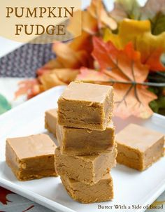 Cinnamon Pumpkin Fudge~ smooth, creamy and perfectly sweet fudge with amazing flavor! #recipe ButterWith ASide of Bread #pumpkin #candy