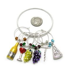 Wine Trinkets Diva Wine Glass Stem Charms Set of 6