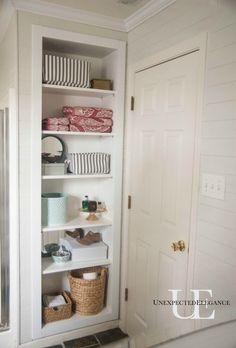Small bathroom Closet - DIY Built In Shelving for My Bathroom. Open Bathroom, Bathroom Closet, Upstairs Bathrooms, Bathroom Renos, Bathroom Ideas, Bathroom Renovations, Gold Bathroom, Small Bathrooms, Bathroom Vanities
