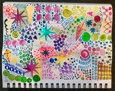 Doodling with watercolors! This fun set has neons and metallics too! Inspired by Ana Victoria Calderon. She has some amaaaazing classes on… Inspiration, Watercolor, Hand Painted, Painting, Doodles, Inks