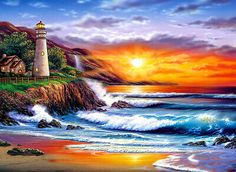 (usa) Lighthouse by Thomas Kinkade born in California. Thomas Kinkade Art, Thomas Kincaid, Kinkade Paintings, Art Thomas, Lighthouse Pictures, Lighthouse Painting, Cross Stitch Landscape, Beautiful Paintings, Diy Painting