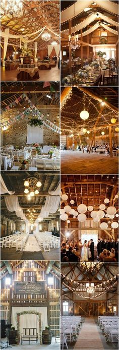 30 Romantic Indoor Barn Wedding Decor Ideas with Lights.