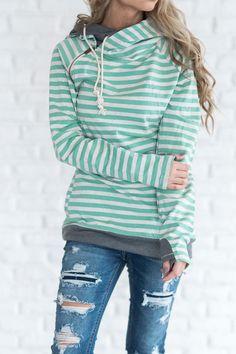DoubleHoodTM Sweatshirt - Mint Stripe