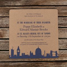 LONDON WEDDING INVITATION, bit of a London theme, fitting for bride and your Norwegian guest's ;) x