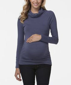 Look what I found on #zulily! Blue Sylvie Maternity Cowl Neck Sweater #zulilyfinds