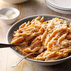 Blushing Penne Pasta Recipe -I reworked this recipe from an original that called for vodka and heavy whipping cream. My friends and family h. Penne Pasta Recipes, Pastas Recipes, Pasta Dishes, Dinner Recipes, Cooking Recipes, Pasta Meals, Healthy Recipes, Easy Recipes, Dinner Ideas