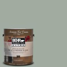 BEHR Premium Plus Ultra 1-Gal. #PPU11-15 Green Balsam Flat Enamel Interior Paint-175401 at The Home Depot. For chairs and table base.
