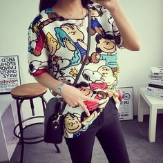fashion women t shirt long summer blouse snobby cartoon graphics casual tee #Unbranded #GraphicTee