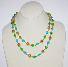 Joan Rivers Aqua and Green Beaded Necklace 36 by SCLadyDiJewelry