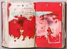 """vjeranski: """" Dieter Roth Diaries, Hardcover leatherbound diary with drawings, coloured sketches, collages (cover) x 11 x 3 cm / 6 x 4 x 1 inches. Art Journal Pages, Artist Journal, Artist Sketchbook, Sketchbook Pages, Art Journals, Visual Journals, Moleskine, Kunstjournal Inspiration, Sketchbook Inspiration"""