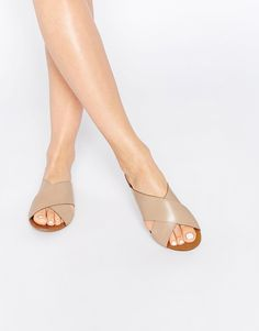 Image 1 ofPieces Jama Nude Leather Cross Over Slider Sandals