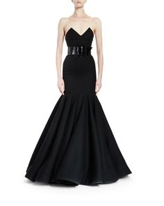B3DQ9 Saint Laurent Strapless Bustier Trumpet Gown, Black