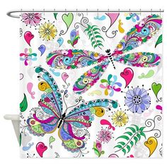 Abstract Butterfly Shower Curtain on CafePress.com $63