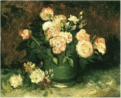 Vincent van Gogh's Cuenco con las peonías y las rosas Painting