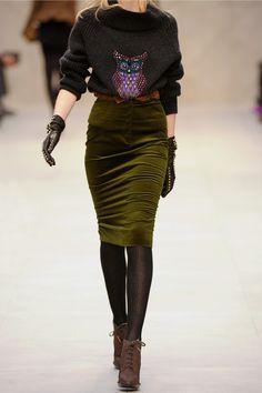 Burberry Prorsum | Velvet pencil skirt | NET-A-PORTER.COM