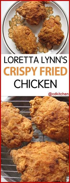 What s the secret to country singer Loretta Lynn s famous crispy fried chicken It s all in the double coating of seasoned flour Chicken Leg Recipes Easy, Fried Chicken Thigh Recipes, Best Fried Chicken Recipe, Country Fried Chicken, Good Fried Chicken, Homemade Fried Chicken, Making Fried Chicken, How To Fry Chicken, Famous Recipe Chicken