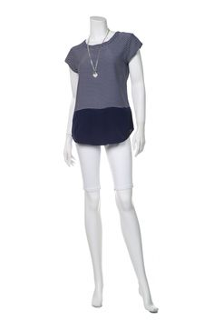 navy top with white stripes - white shorts - silver necklace