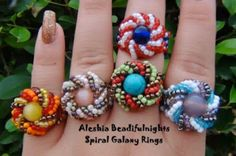 Free Tutorial - Spiral Galaxy Beaded Ring by beadifulnights featured in recent Bead-Patterns.com Newsletter