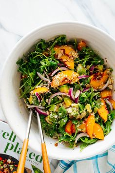 This summer salad recipe from The Well Plated Cookbook features ripe peaches and avocado over fresh arugula. It's healthy and delicious! Green Salad Recipes, Vegetarian Salad Recipes, Summer Salad Recipes, Summer Salads, Vegan Meals, Veggie Recipes, Chicken Recipes, Healthy Food Blogs, Whole Food Recipes