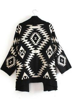 Black and White Bold Geometric Irregular Long Sleeve Cardigan #Bold #Black_and_White #Geometric #Knit #Fashion