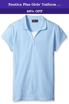 Nautica Plus Girls' Uniform Short Sleeve Polo with Cami, Light Blue, X-Large. Nautica girl uniform short sleeve polo with cami.