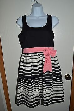 MAURICES Women's Spring Fashion Dress SIZE 7 Black White Stripes Pink Bow Zip-Up | eBay