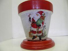Items similar to Flowerpots, Beautiful Decoupage Flower pots, Santa Claus on Etsy