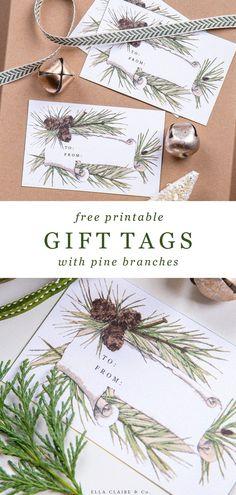 Christmas Gift Tags Printable, Free Printable Gift Tags, Christmas Printables, Free Printables, Printable Labels, Free Christmas Gifts, Christmas Gift Wrapping, Christmas Presents, Wrapping Gifts