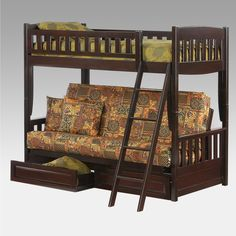 Futon Bunk Bed Night And Day Cinnamon Is A Wood Twin Furniture With High Sleeper Underneath