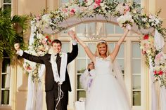 Pink floral chuppah. Found on Modern Jewish Wedding Blog.